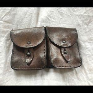 Vintage French belt wallet or clutch, leather